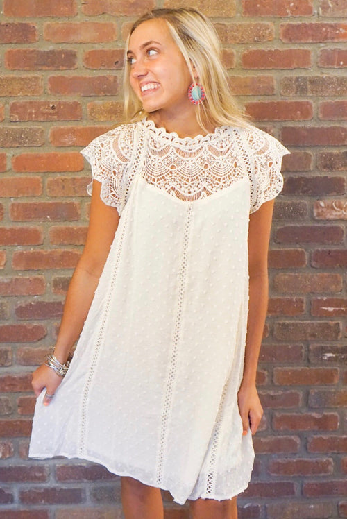 Ivory Crochet Chiffon Dress