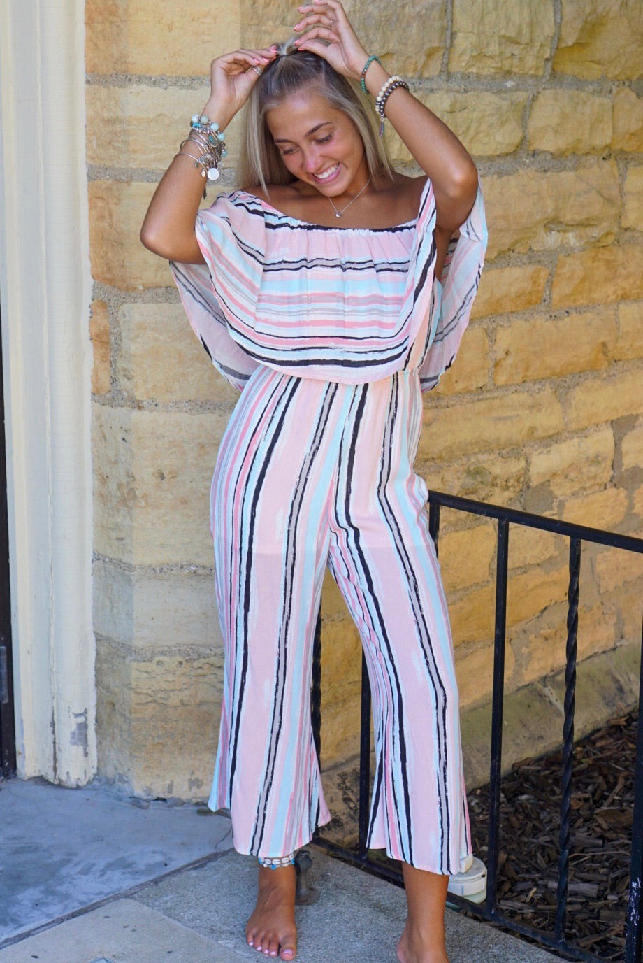 Pink Multi Colored Jumpsuit