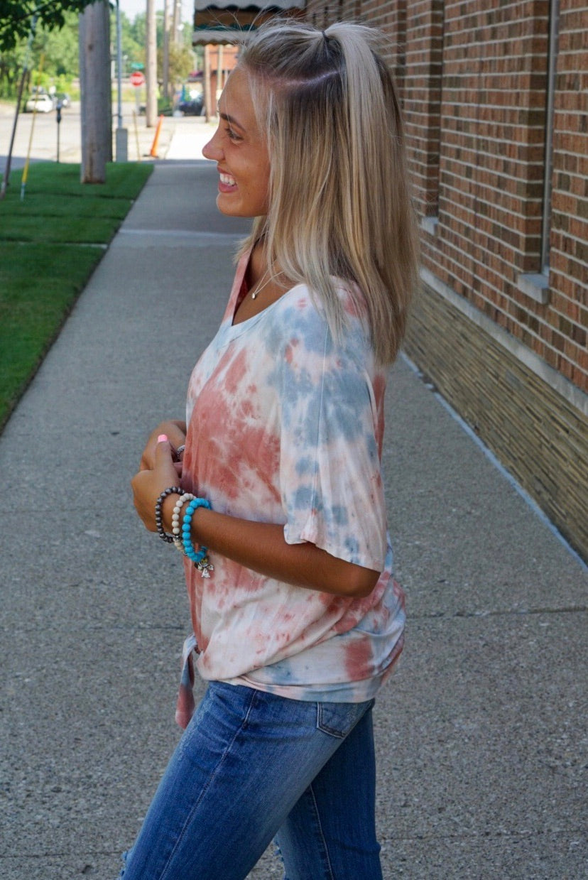 Rose Tie Dye Tie Top