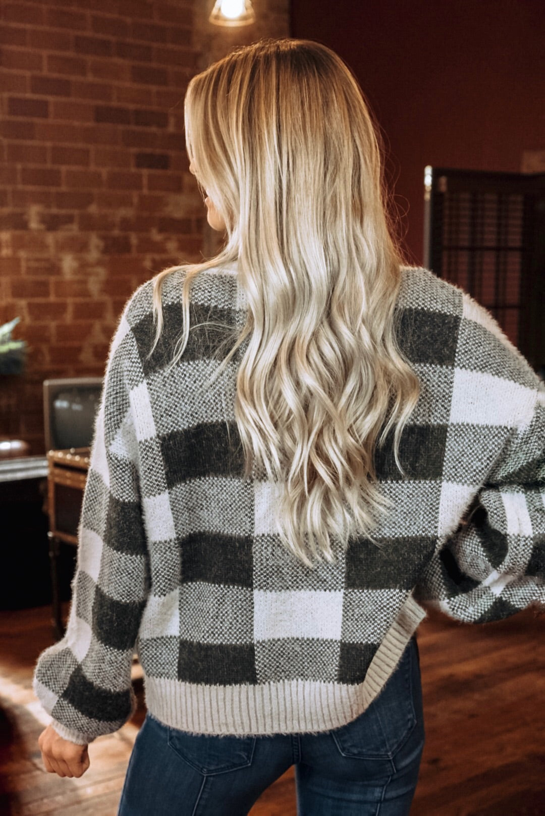 Button Up Grey Plaid Cardigan