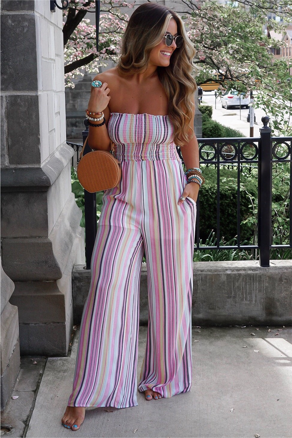 Multi Striped Smocked Jumpsuit