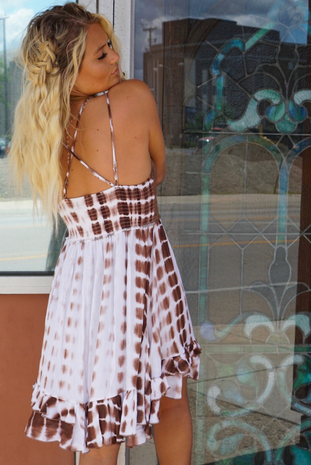 Sabine Chocolate Tie Dye Dress