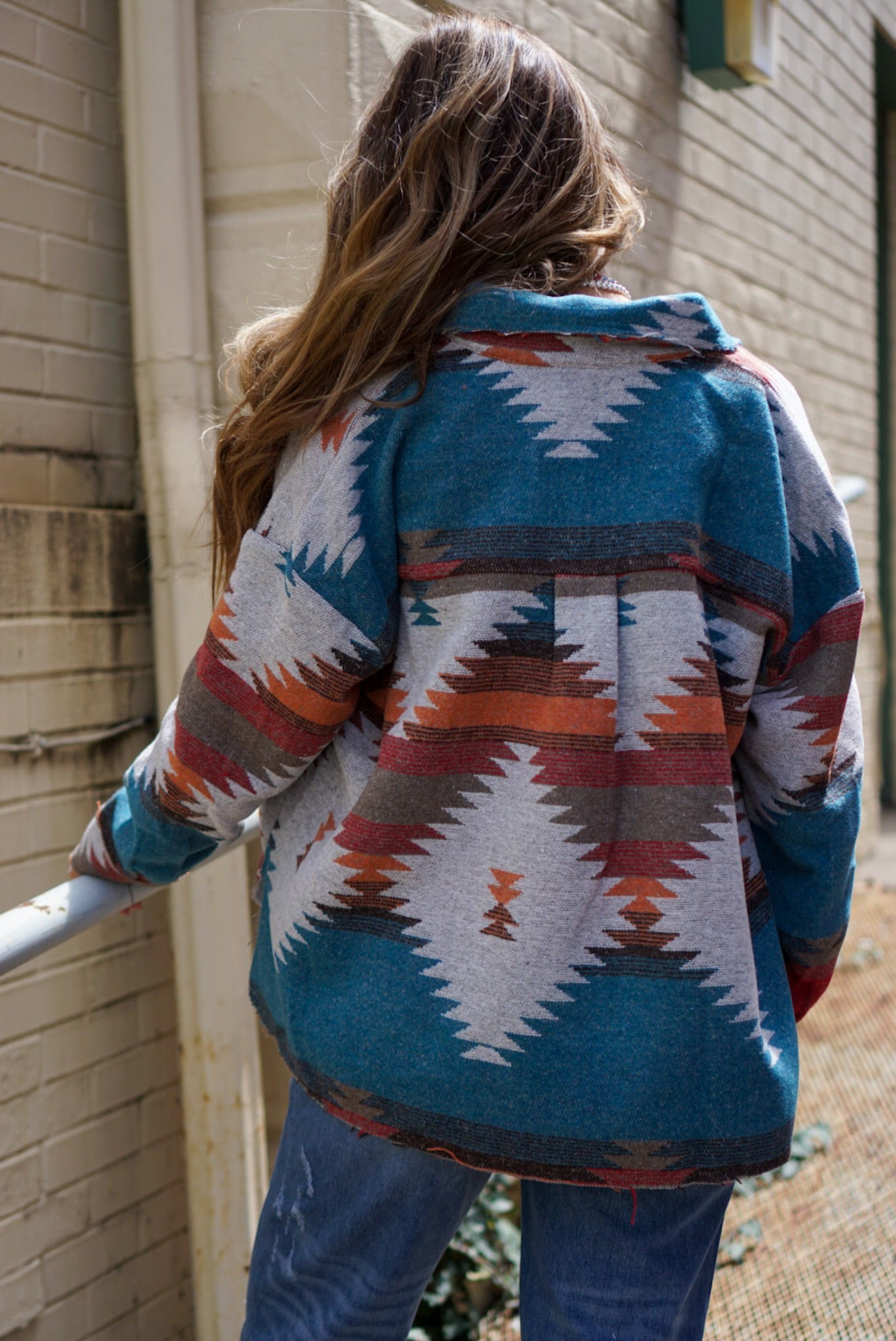 Summer Nights Teal Aztec Printed Jacket