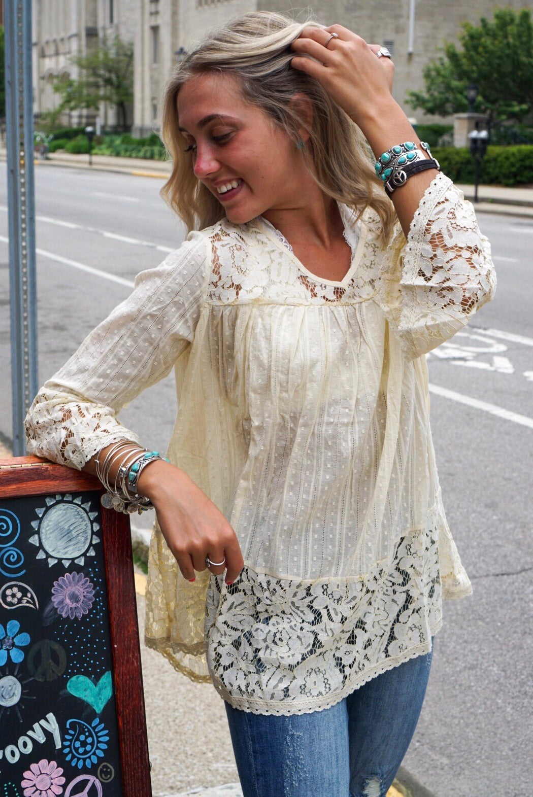 Cream Textured Lace Top