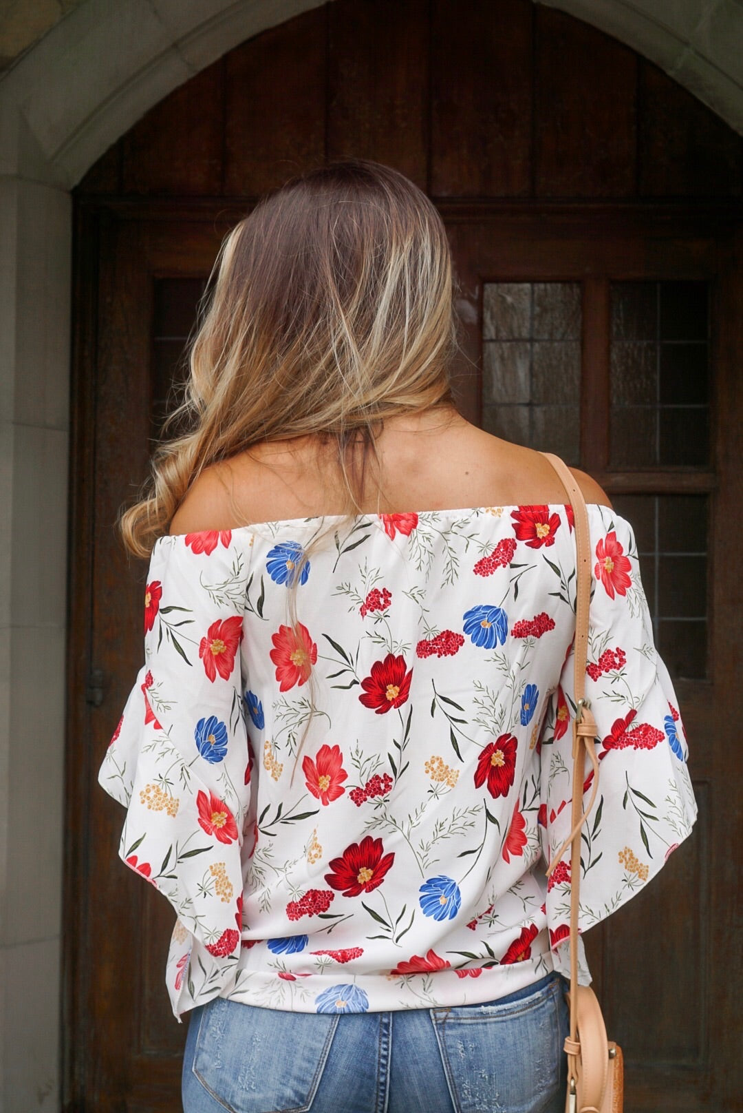 Ivory Floral Off The Shoulder Tie Top