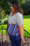 Hannah Grey Curvy Striped Twist Front Blouse