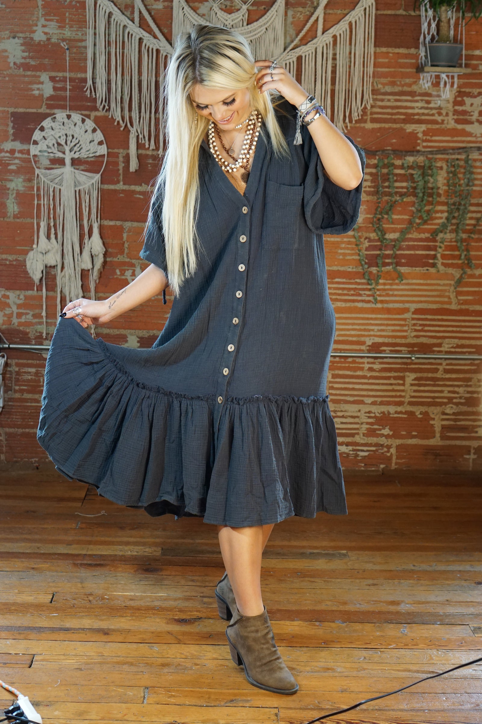 Lucille Charcoal Dress
