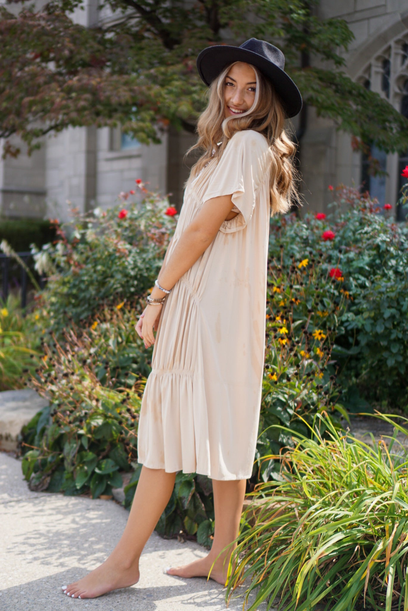 Amour Ecru Midi Dress
