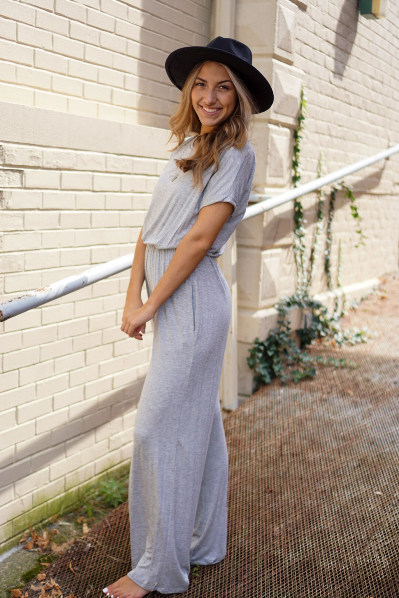 Lazy Sunday Grey Jumpsuit