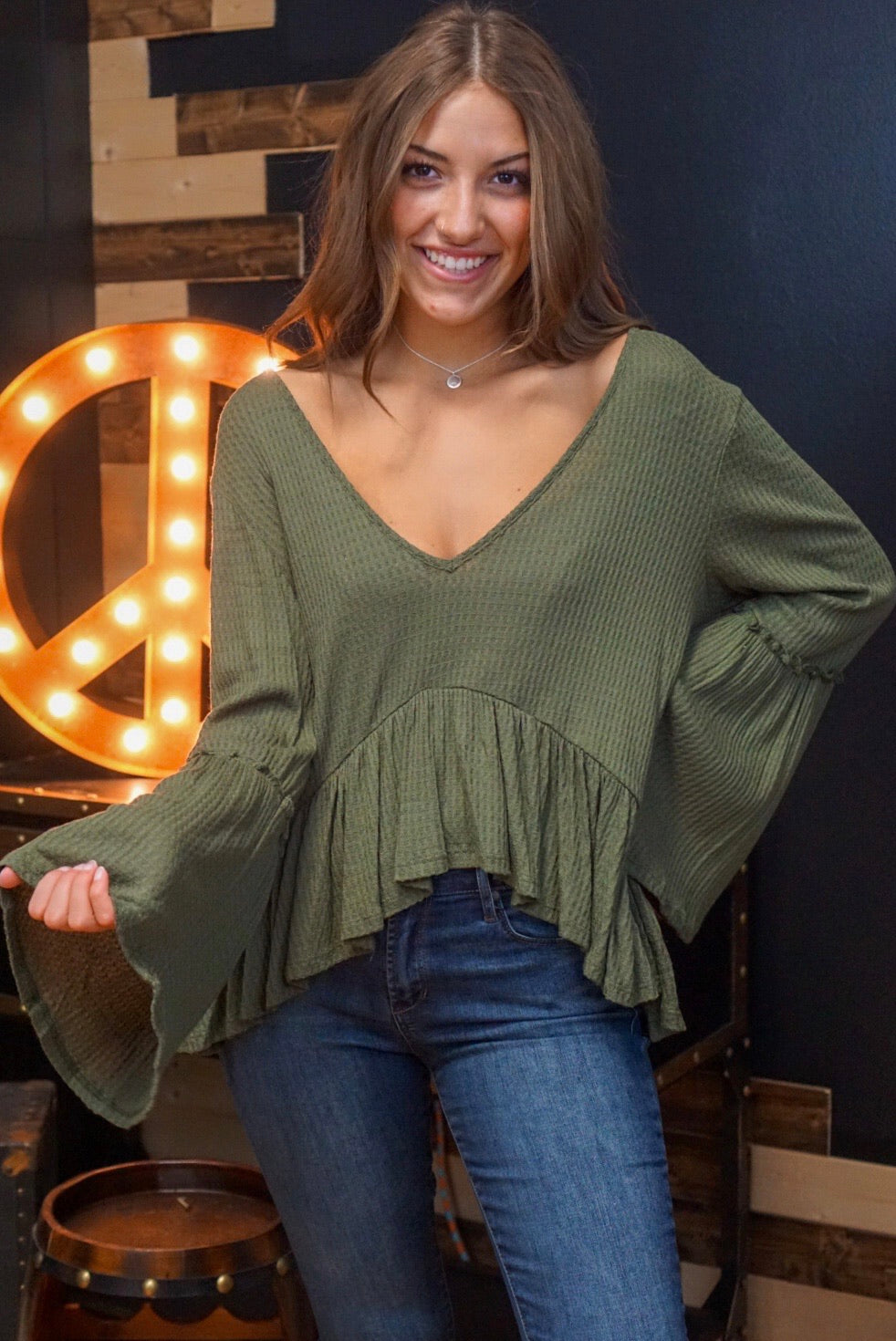 Easy Rider Olive Frill Top
