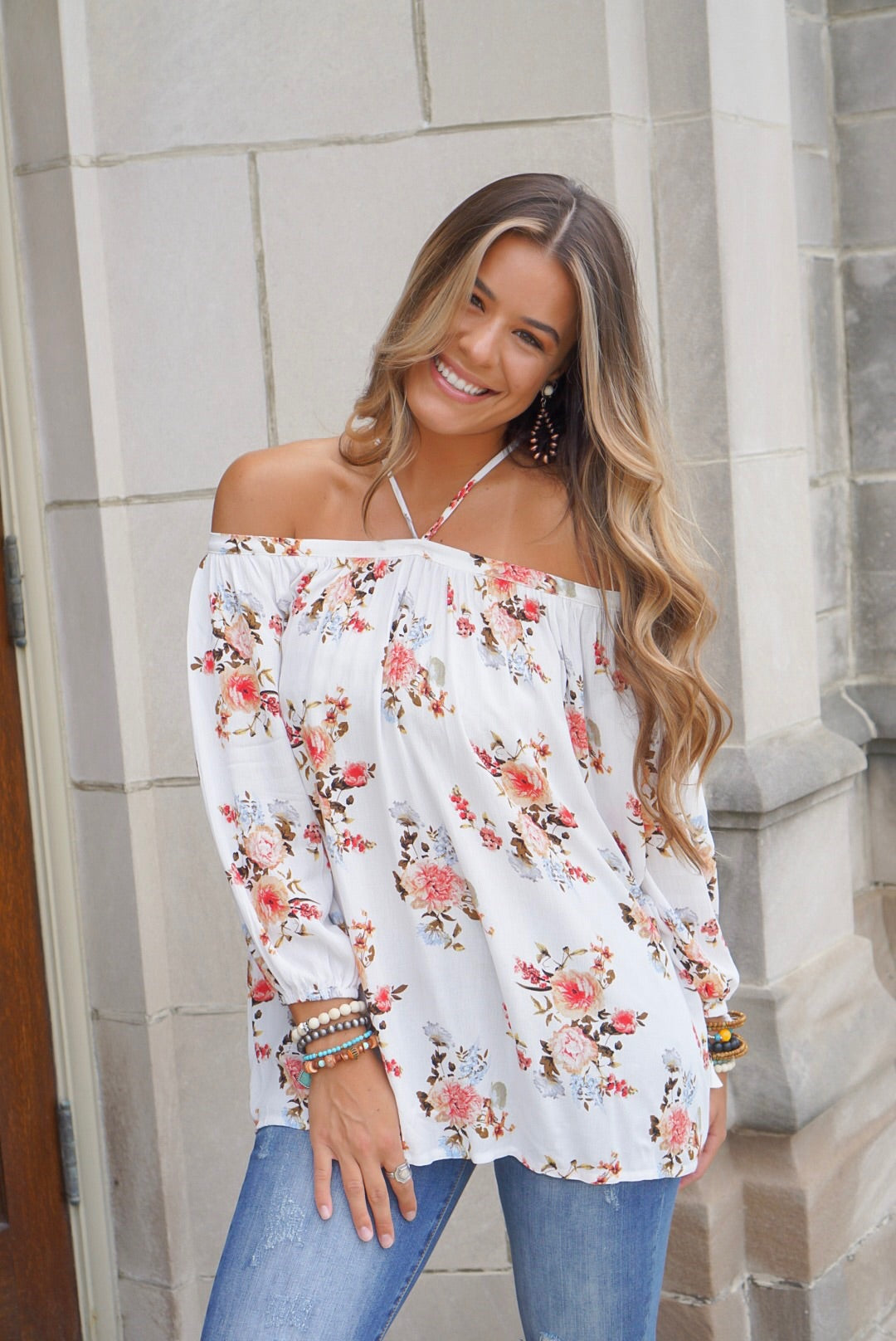 Ivory Multicolored Off The Shoulder Top