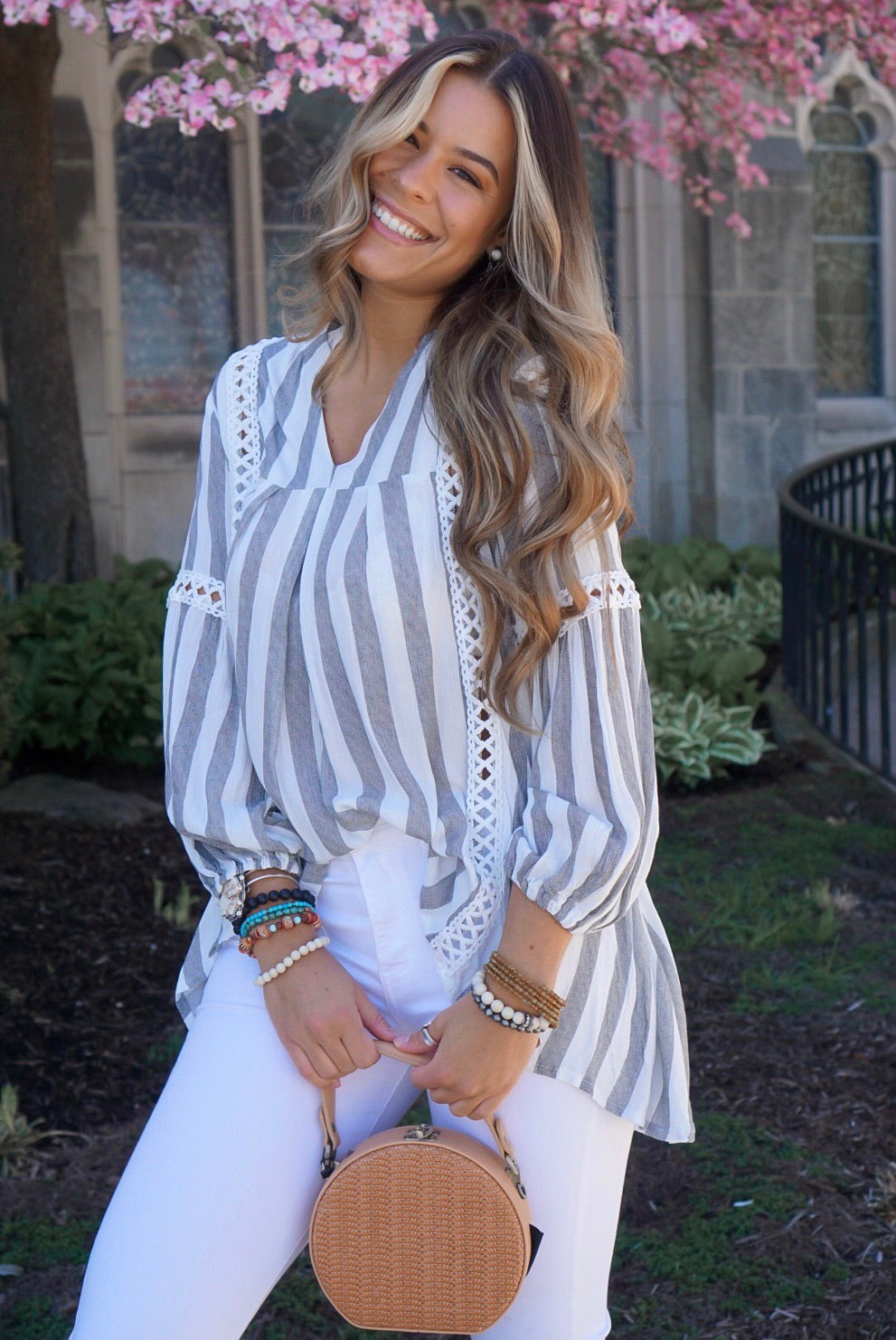Charcoal Striped Peasant Top