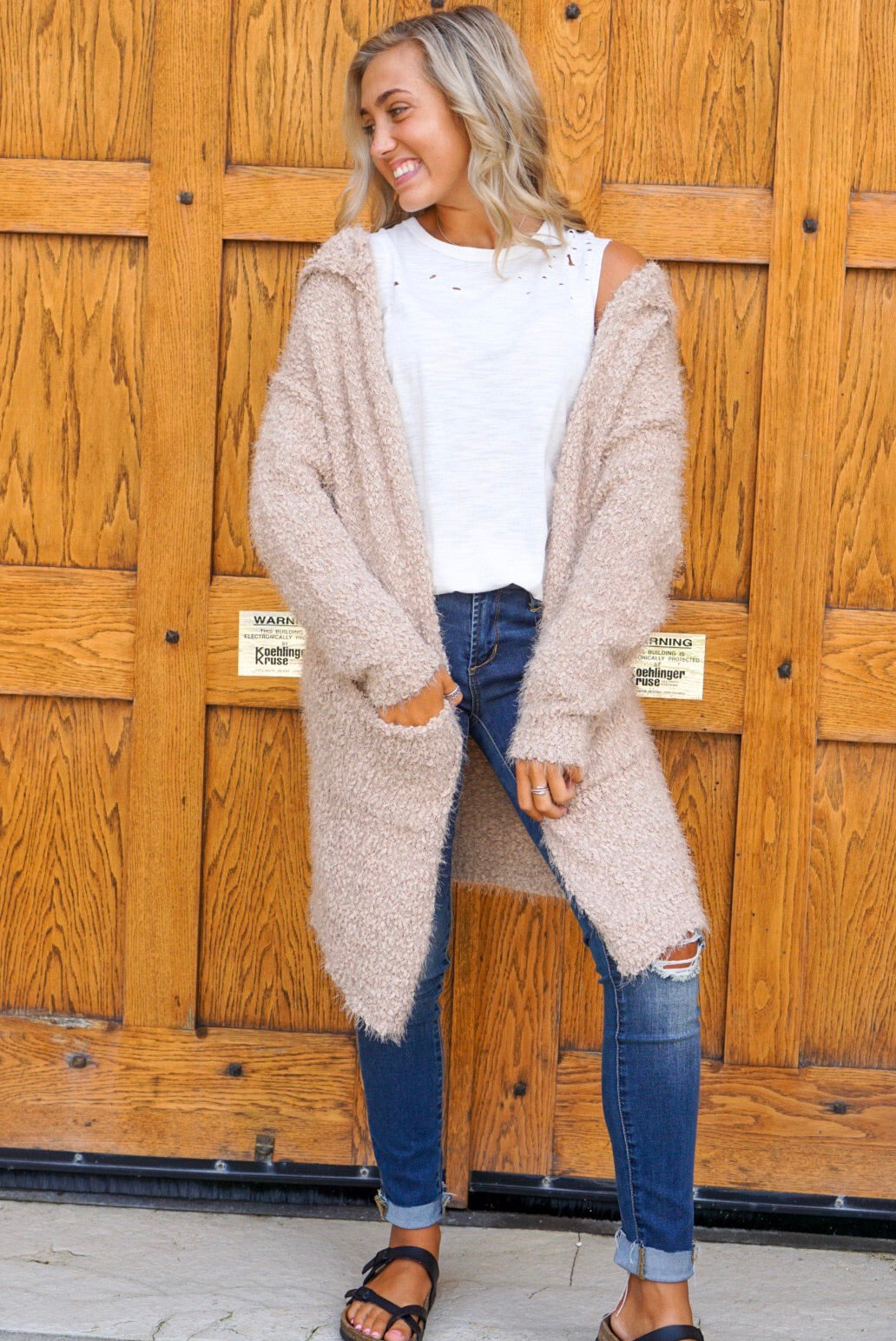 Serena Taupe Fuzzy Cardigan