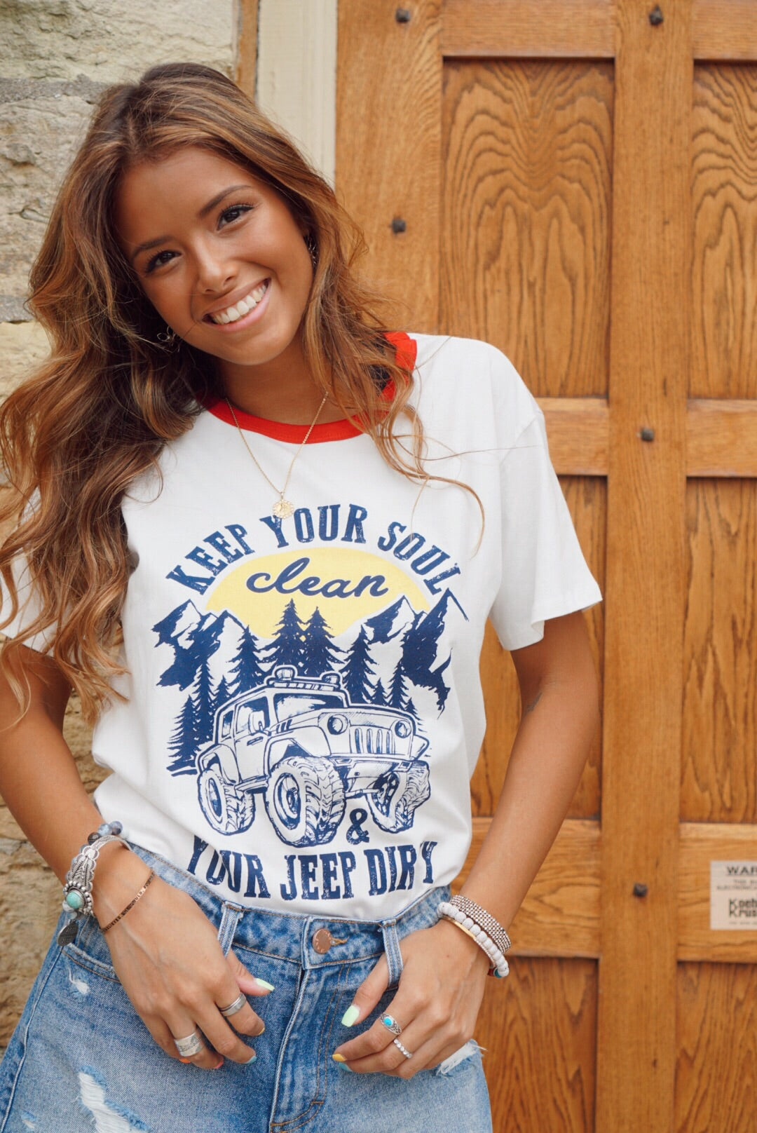 White Clean Soul Dirty Jeep Tee