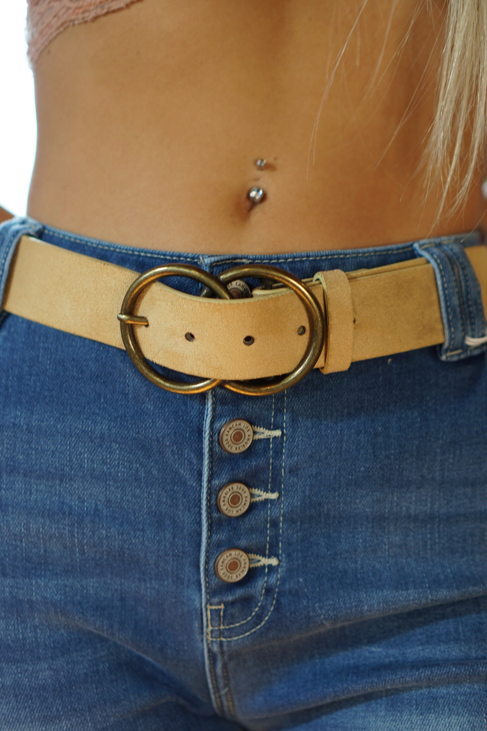 Double Circle Beige Belt