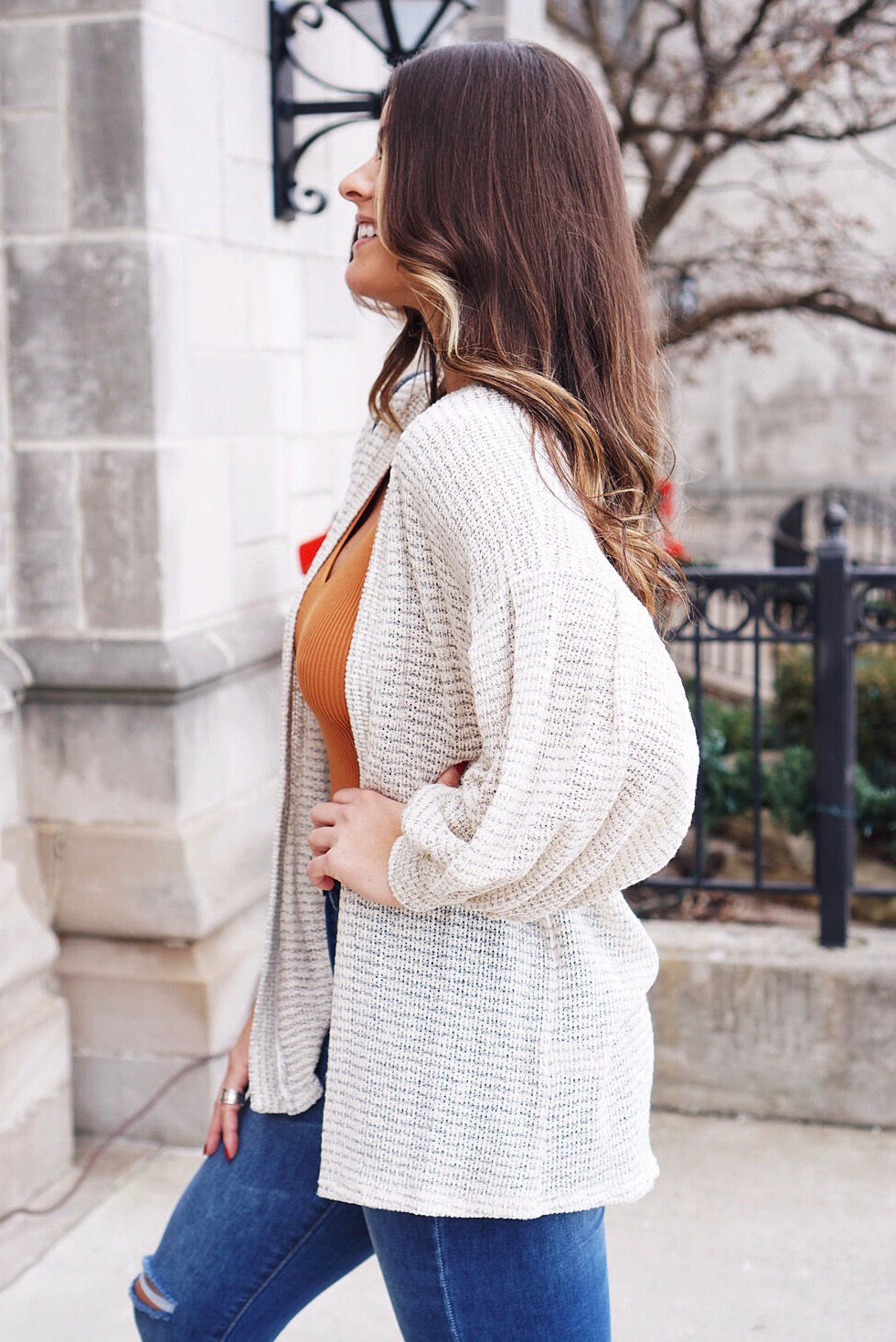Textured Knit Open Cardigan