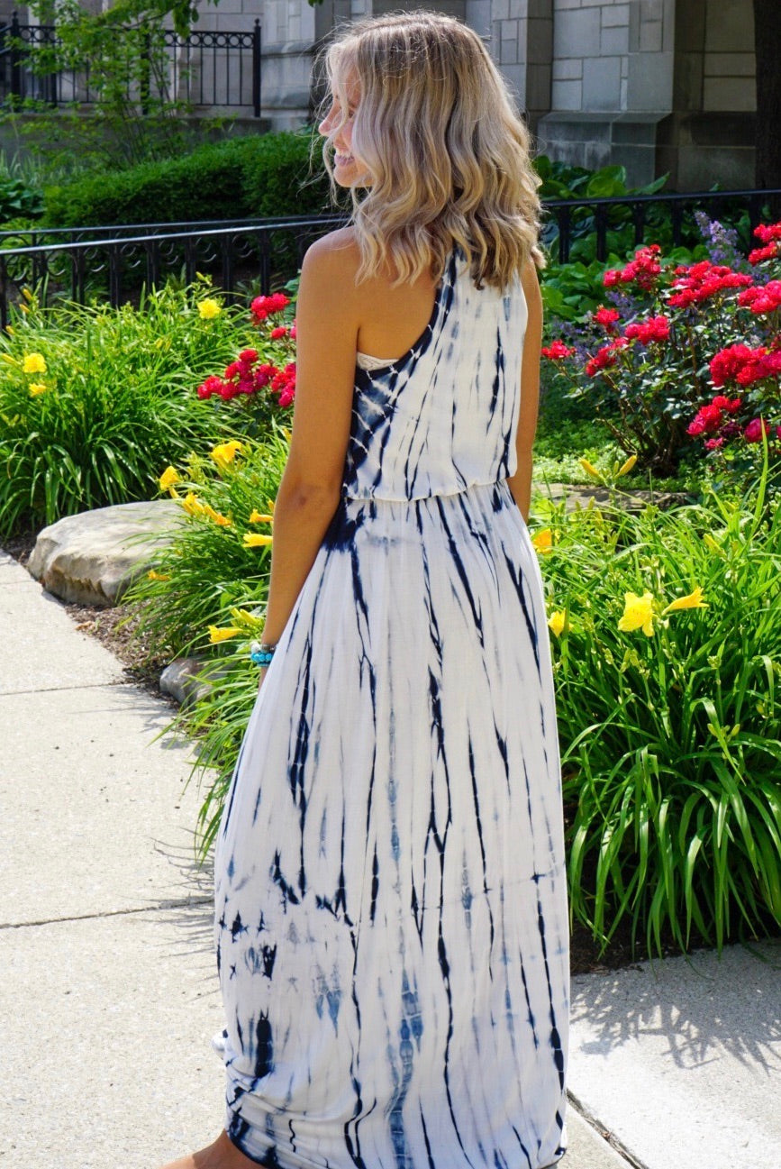 Blue Tie Dye Halter Maxi Dress