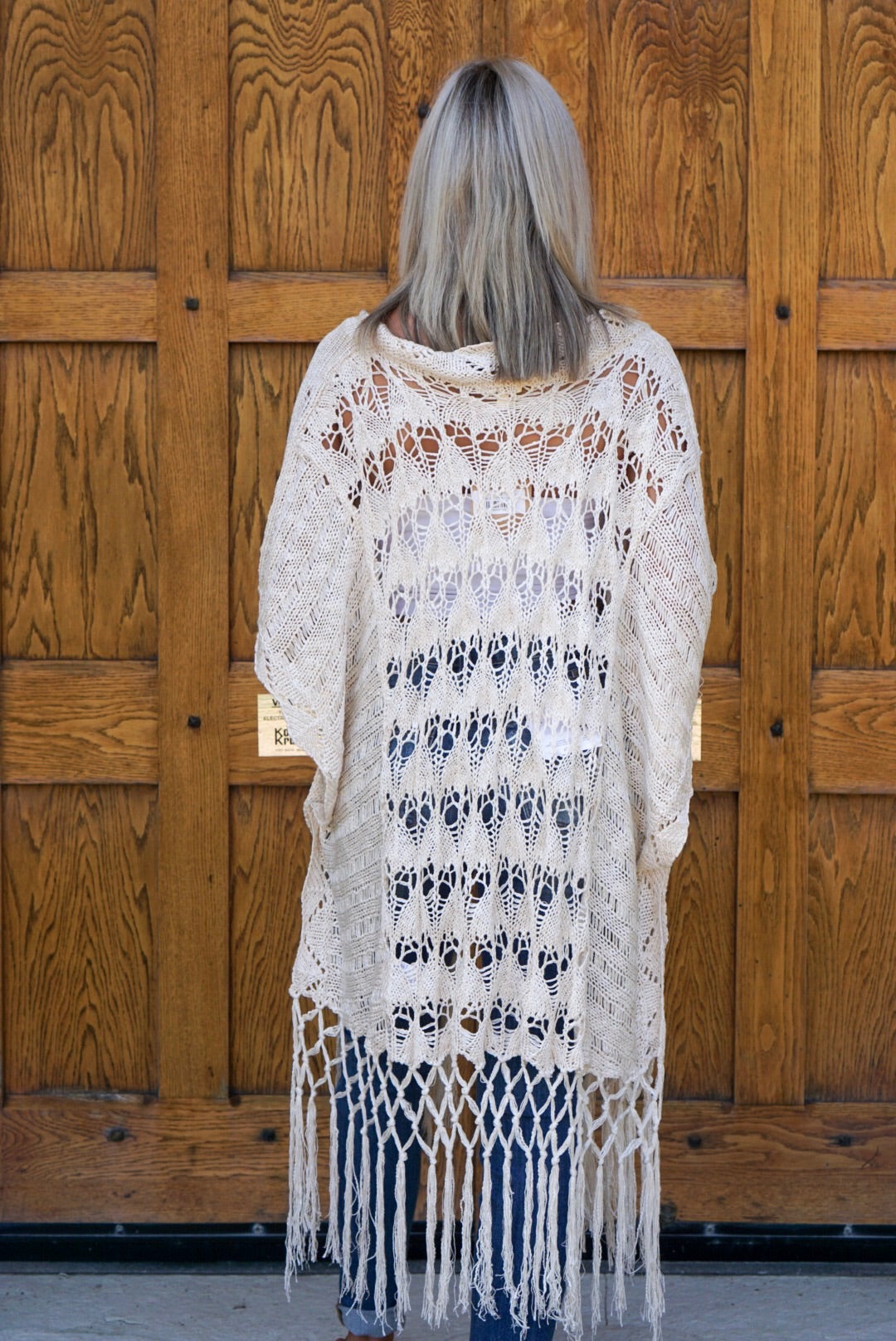 Cream Crochet Fringe Cardigan