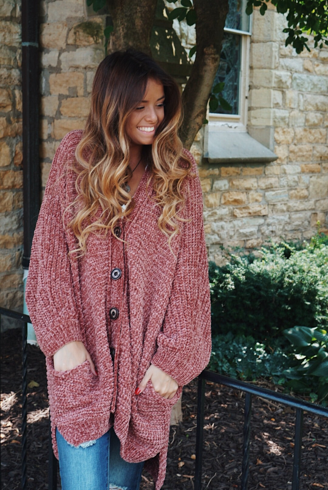 Burgundy Chenille Knit Button Down Cardigan