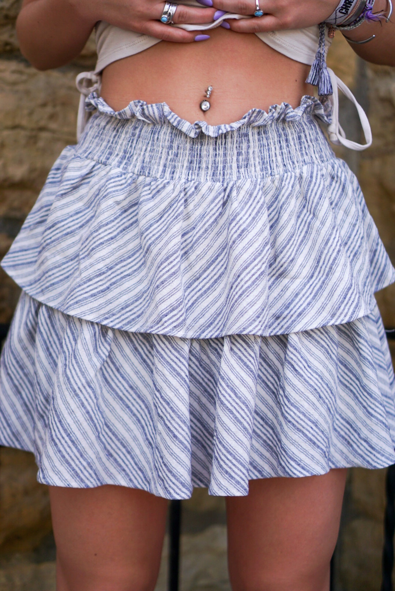 Lyla Navy Ruffle Skirt