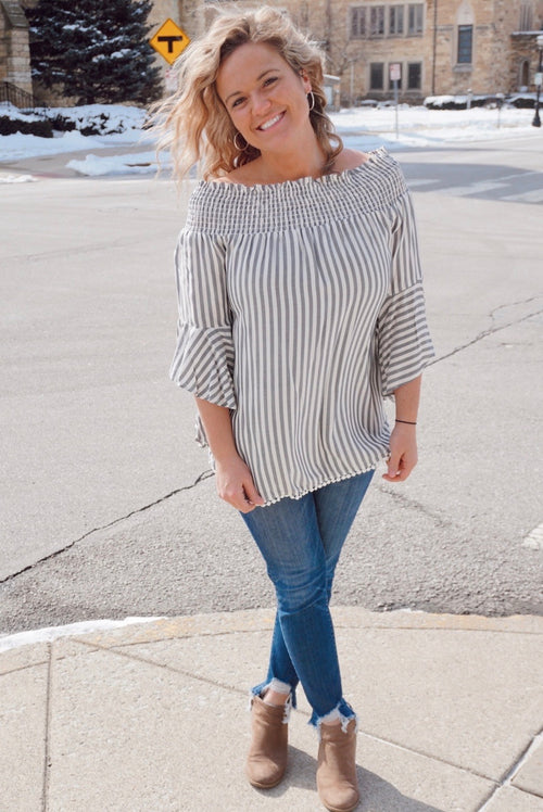 Waverly Grey Striped Off The Shoulder Top