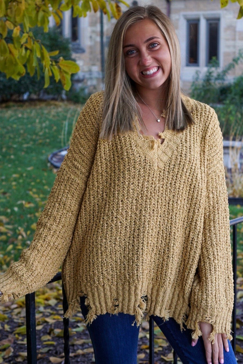 Cozy Vibes Mustard Destroyed Sweater