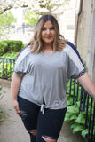 Curvy Grey Mix Tie Top