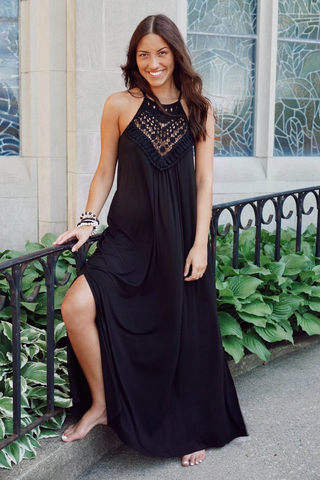 Catching Feelings Black Halter Maxi Dress