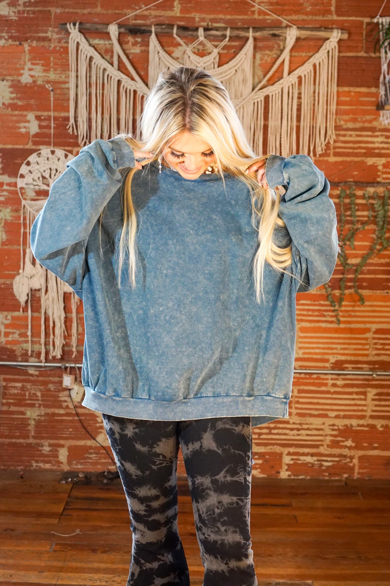 FINAL SALE Blissed Out Faded Teal Top