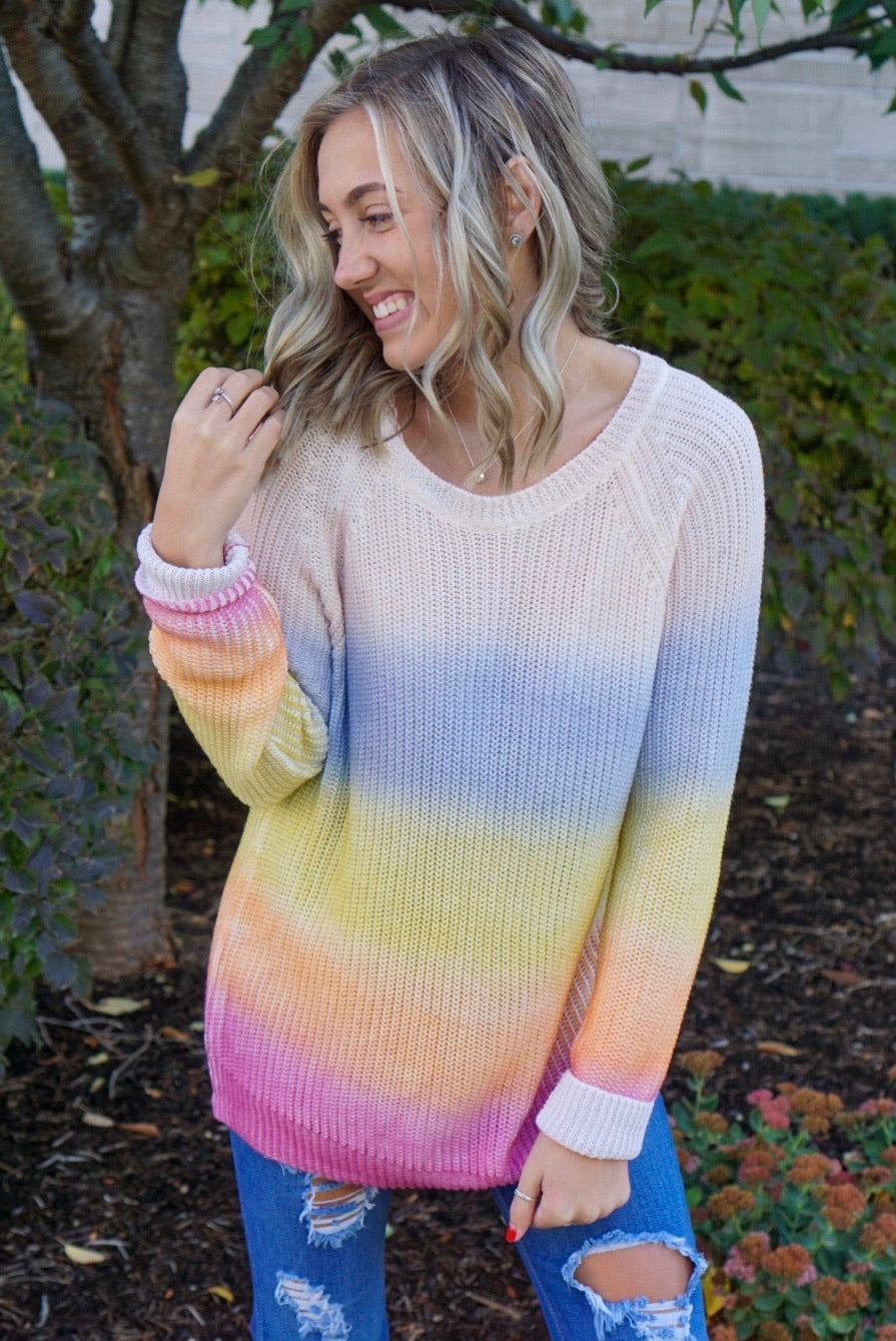 Peace N' Love Rose Ombre Sweater