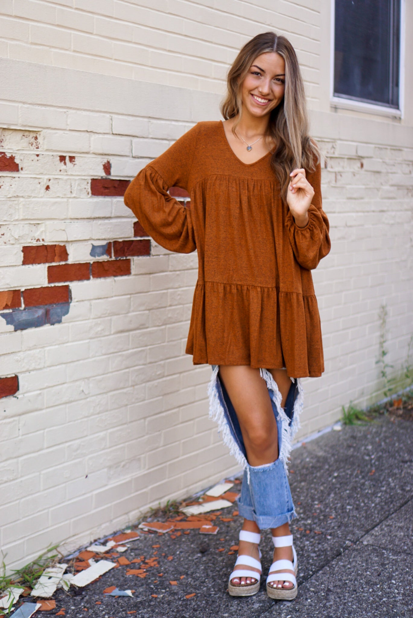Fall Feels Spiced Cider Babydoll Tunic