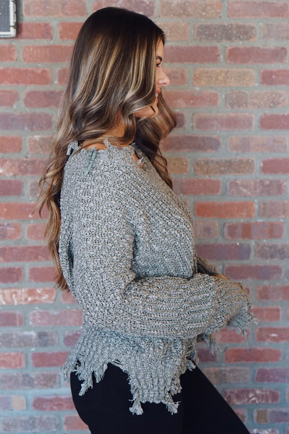 Olive Distressed Textured Sweater