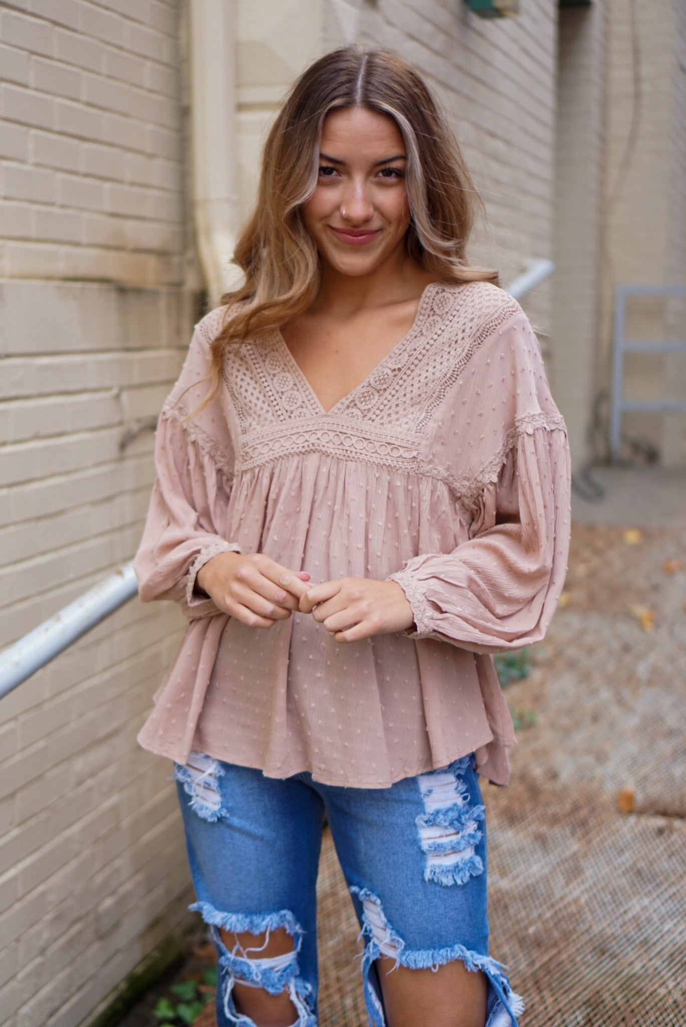 FINAL SALE She's A Daydream Taupe Blouse