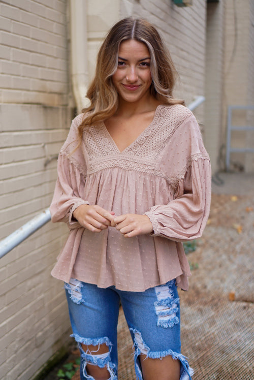 She's A Daydream Taupe Blouse
