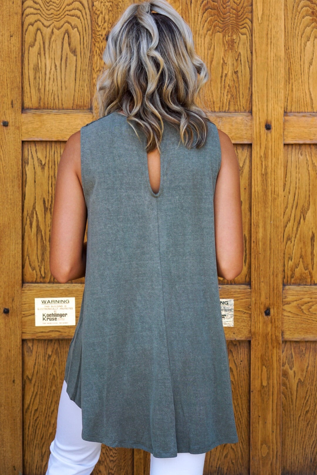 Olive Washed Crochet Tank