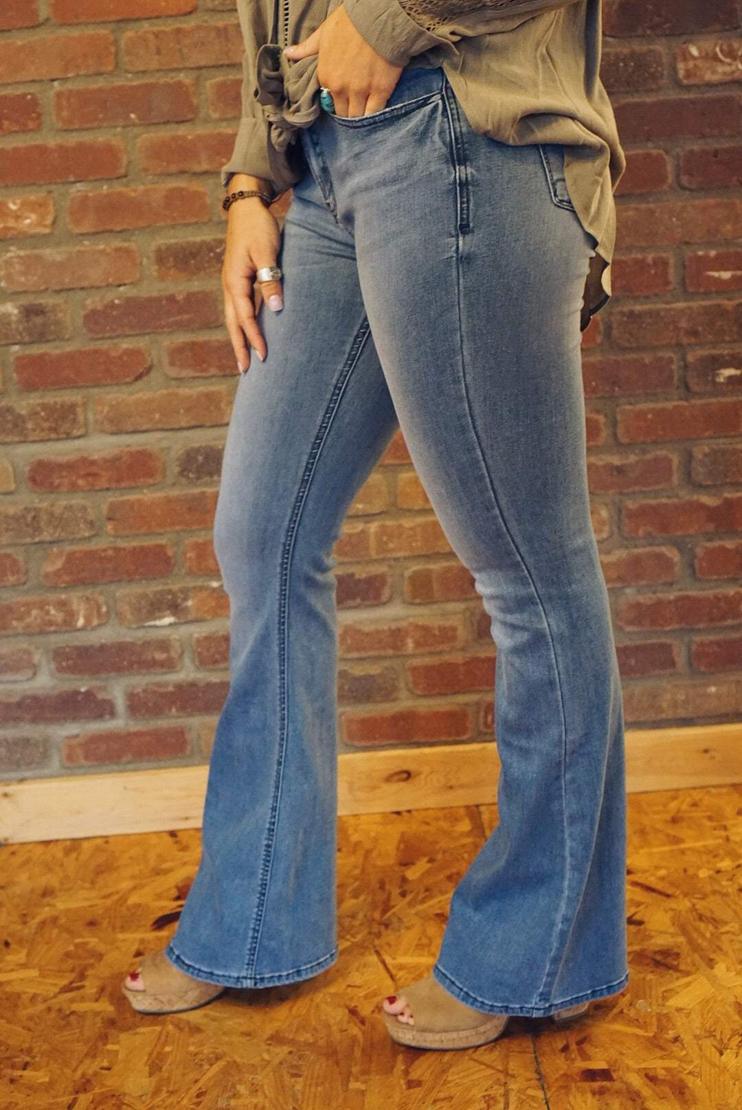 Mid Rise Medium Wash Flare Jeans