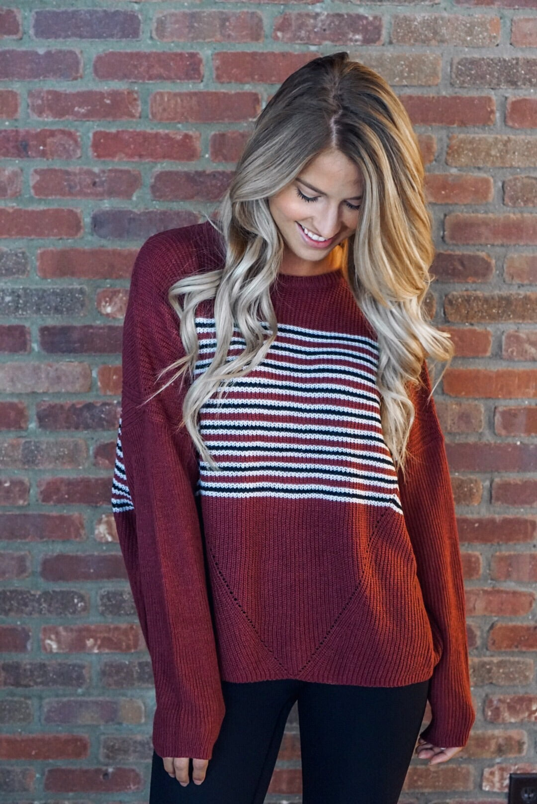 Cranberry Striped Sweater
