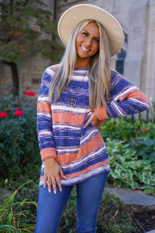 Break The Rules Navy Striped Sweater