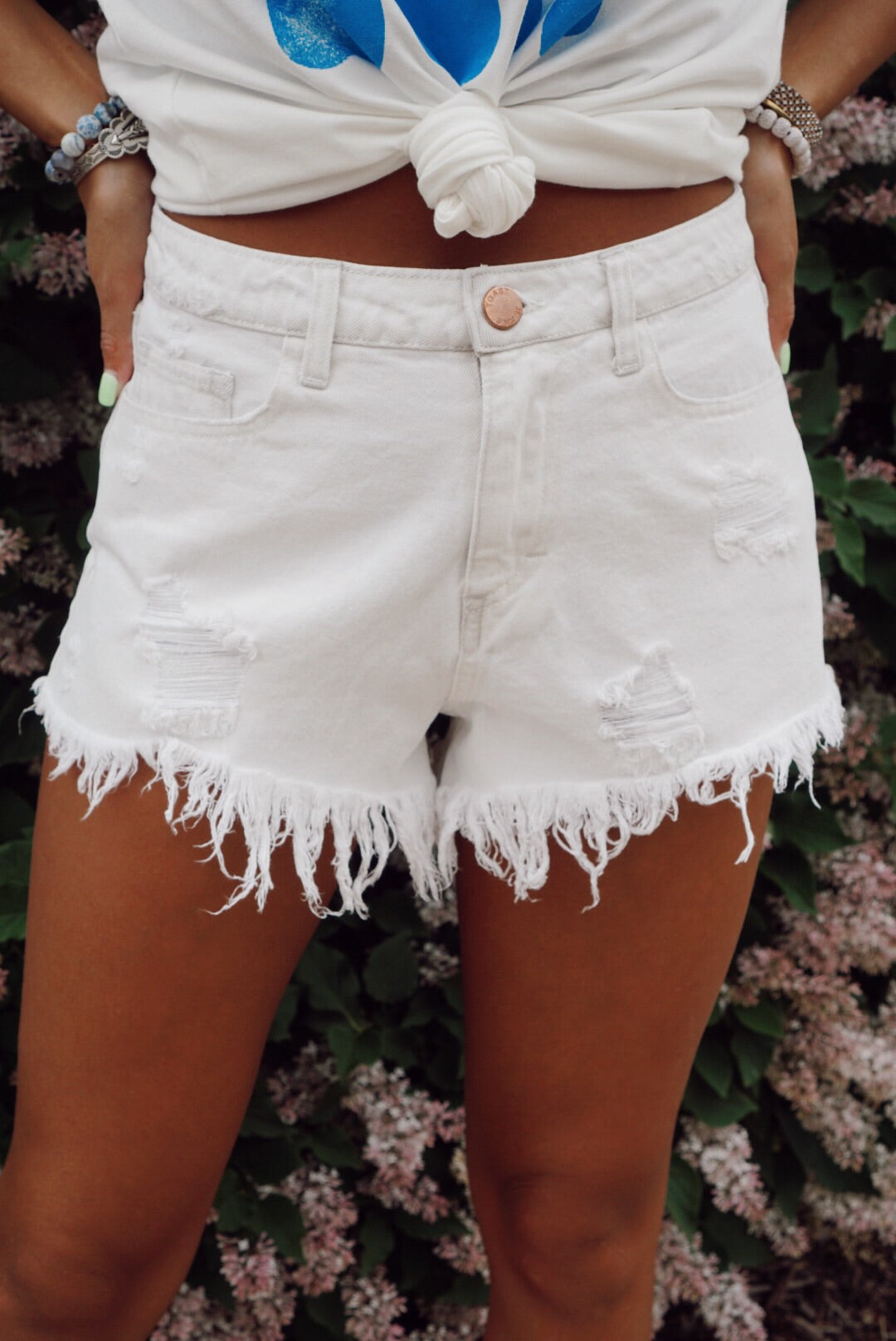 White Denim Distressed Hot Shorts