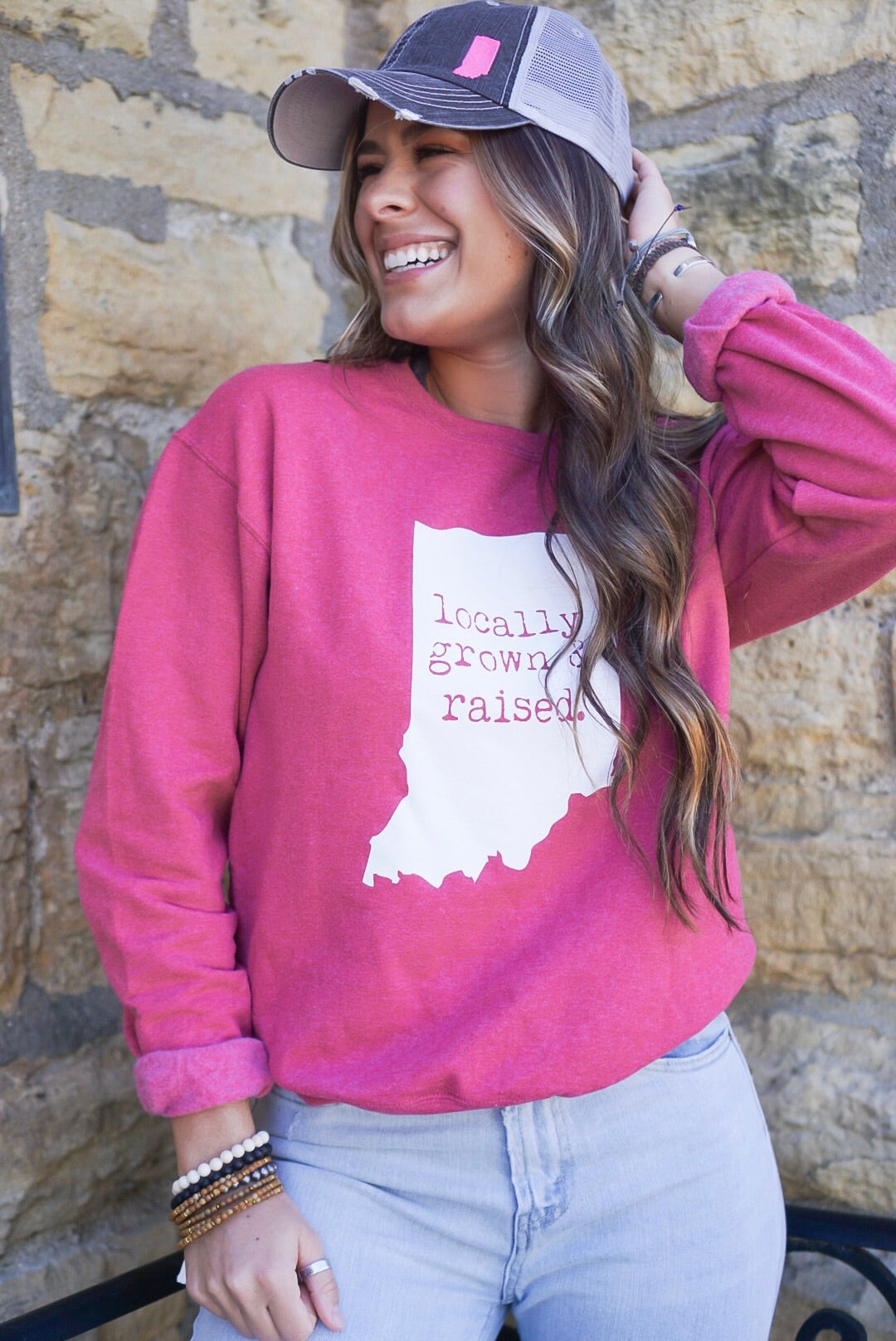Vintage Red Locally Grown Crew Neck Sweatshirt