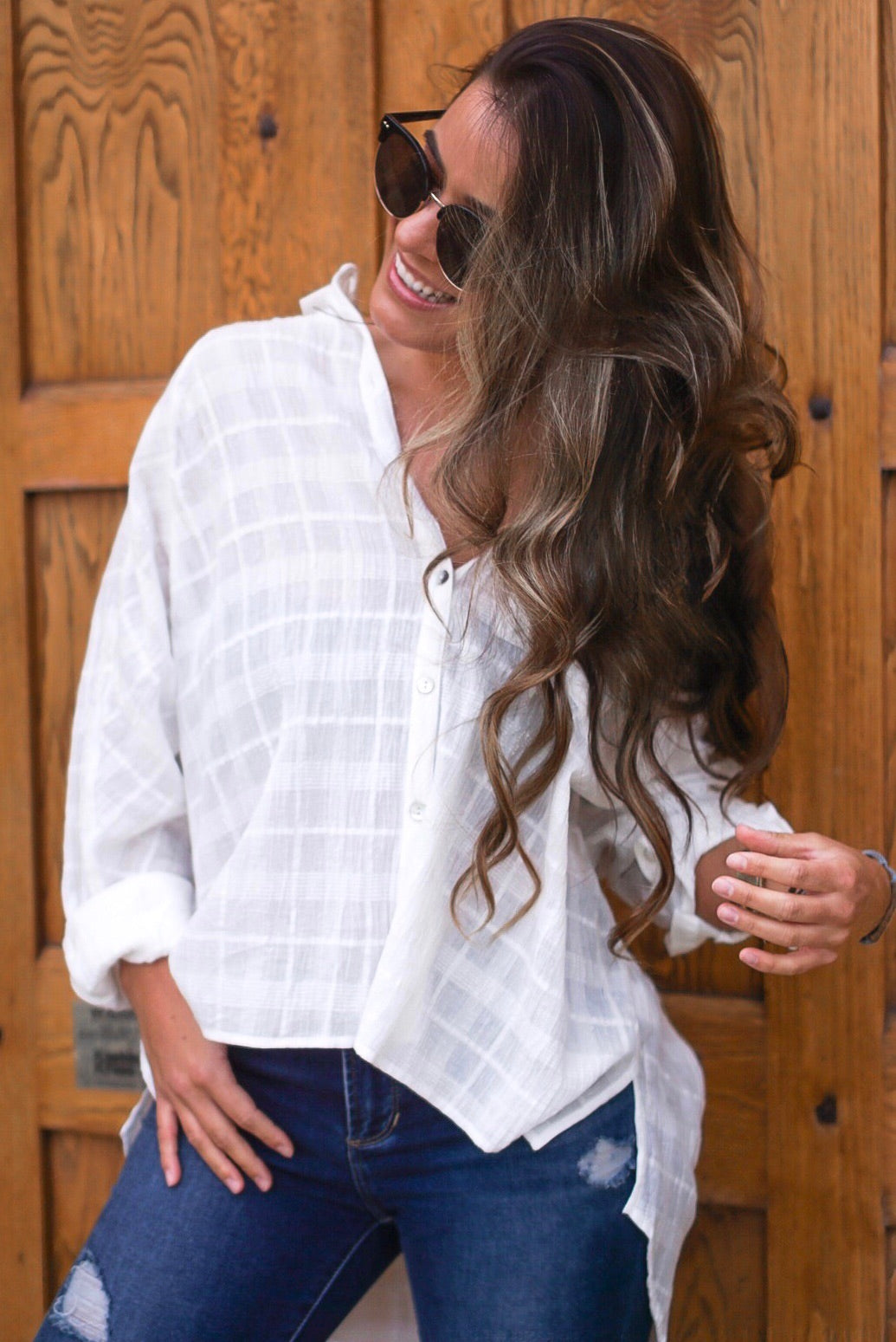 Ivory Collared Button Up