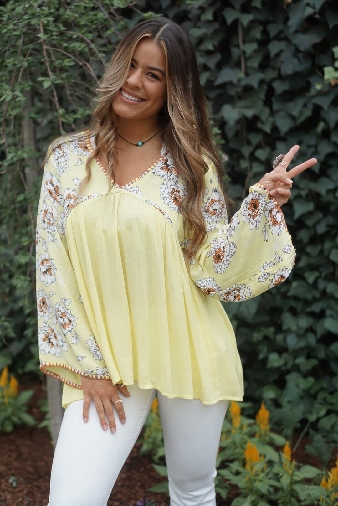 Lemon Floral Babydoll Top