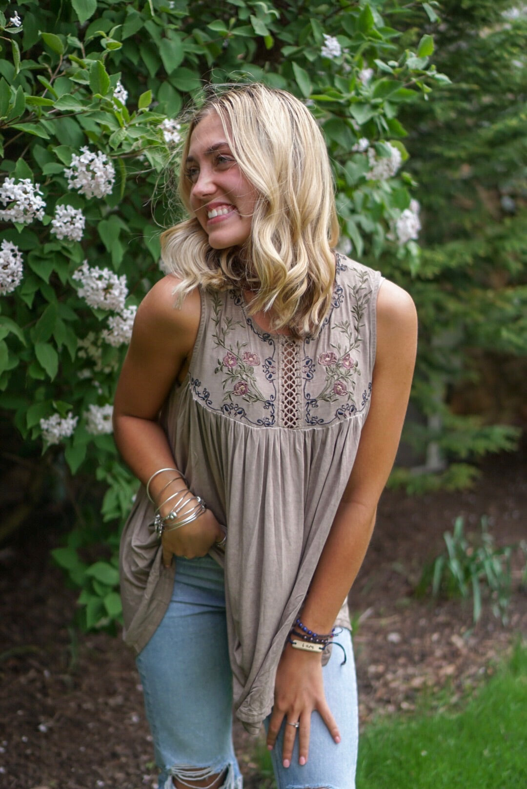 Mocha Embroidered Tank