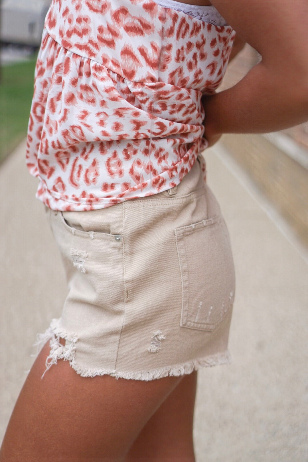 Beige Distressed Denim Shorts