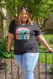Curvy Black Happy Rainbow Tee