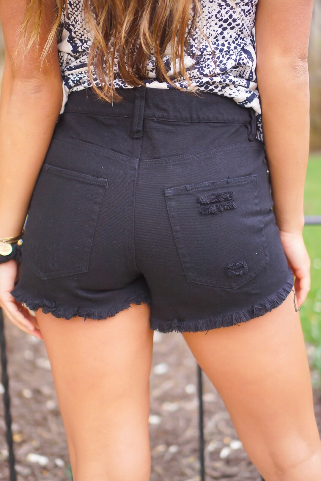 Black Distressed Denim Shorts