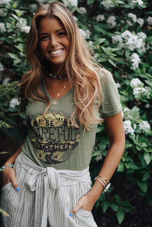 Olive Be Dareful V-Neck Tee
