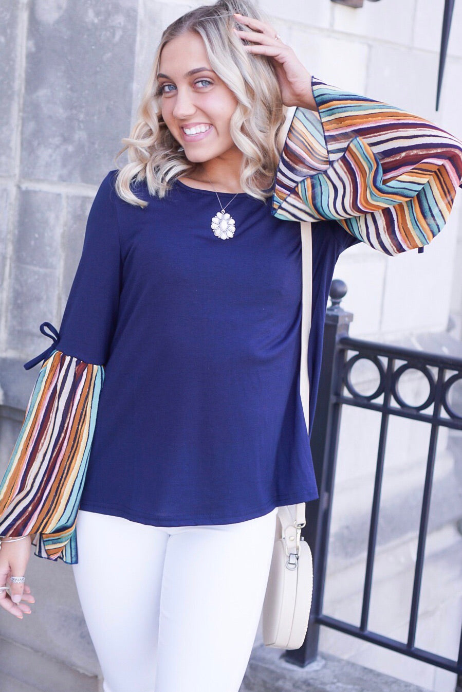 Navy Patterned Sleeve Top
