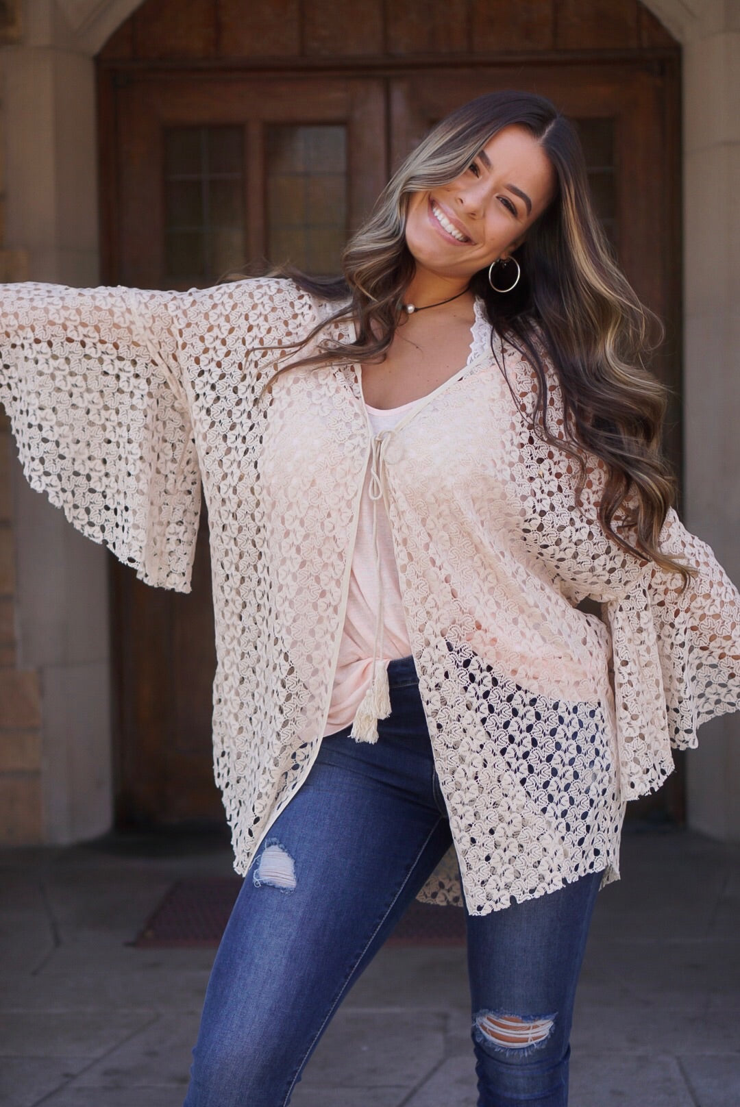 Cream Crochet Detailed Cardigan