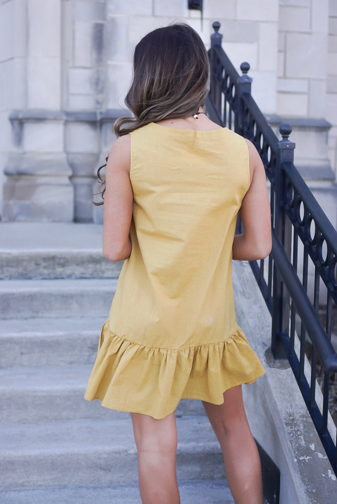 Mustard Button Ruffle Dress